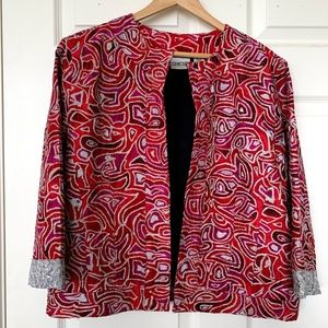 Chicos Metallic Embroidered Silk Cropped Jacket